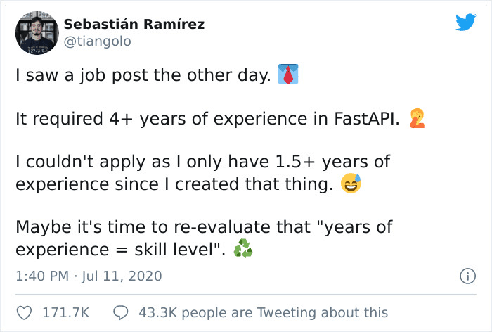 Sebastian Ramirez Laughing at Recruiters about years exp on the api he invented